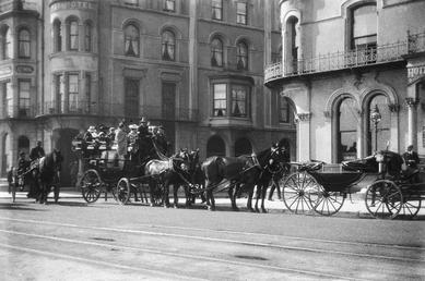 Horse-drawn vehicles on Douglas promenade