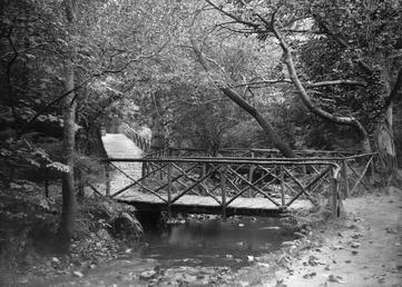 Scene of walkways, bridge and stream in [Groudle…