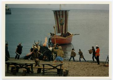 Vikings landing in a re-enactment
