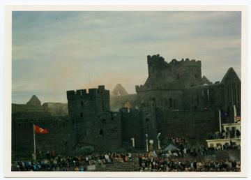 Peel Castle, with a crowd in front