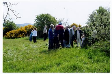 Group of mourners at Larch Garrad's memorial, Ballaugh