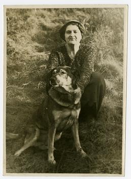 Mrs Shooter with family dog, Peg Leg
