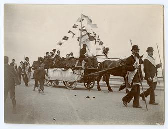 Oddfellows Parade in Ramsey - horsedrawn float