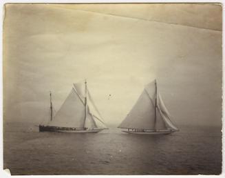 Two unnamed sailing ships at sea