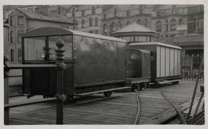 Locomotives and carriage on Queen's Pier