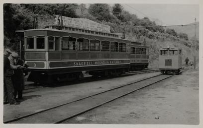 Snaefell Mountain Railway car No. 3 and diesel…