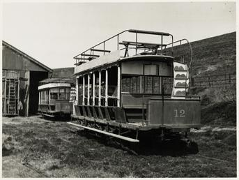 Old Douglas Southern Electric Railway trams No. 12…