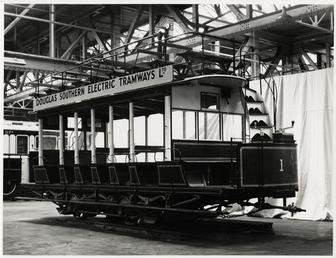 Restored Douglas Southern Electric Railway tram No. 1…