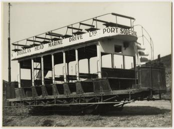 Unrestored Douglas Southern Electric Railway tram No. 1