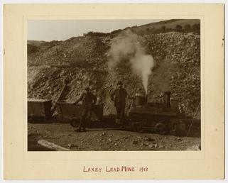 Steam engine and carts at Laxey lead mine.…