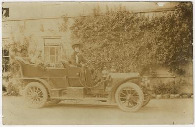 Early motor car at Rushen Abbey