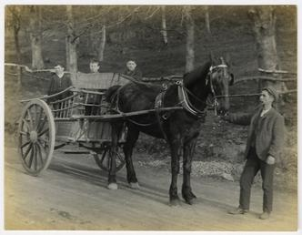 Horse-drawn grocers cart on the Mountain Road, above…