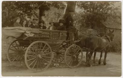 Number of passengers on large, horse drawn coach
