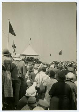 Spectators viewing dignitaries on Tynwald Hill at the…