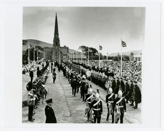 Tynwald ceremonial procession with Irish Guards forming guard…