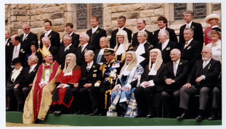 Prince Charles and members of Tynwald seated on…