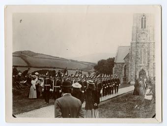 Military guard leaving St John's Chapel on Tynwald…