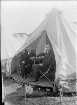 First World War internees inside an internment tent,…