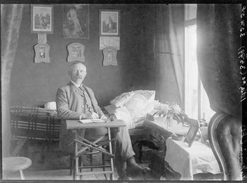 First World War Internee inside an Internment Chalet,…