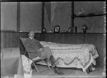 First World War Internee inside an Internment Chalet,…