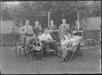 First World War Internee musicians in front of…
