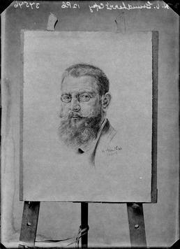 First World War internee artwork (charcoal portrait), Douglas…