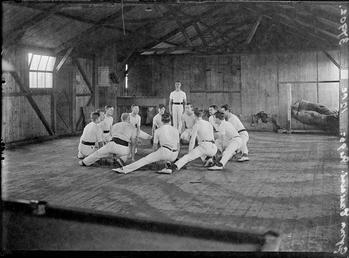 First World War Internee Gymnastic Club inside an…