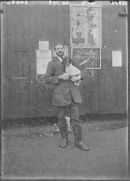 First World War internee in front of an…