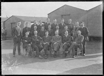 First World War Internees inside an Internment Chalet,…