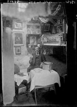 First World War internee inside an internment hut,…