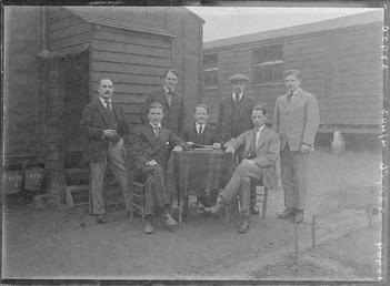 First World War internees in front of an…