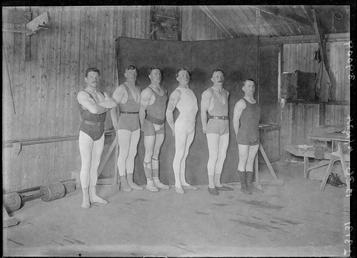 First World War Internees (Weight Lifters) inside an…