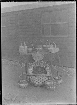 First World War Internee-Made Baskets (Hut in background),…