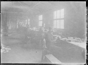 First World War Internees inside a Craft Workshop,…