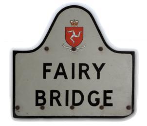 Road sign for the 'Fairy Bridge' at Santon