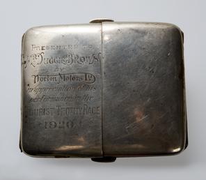 Silver cigarette case presented to a TT rider